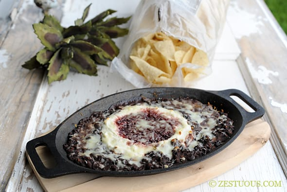 Raspberry Chipotle Black Bean Dip from Zestuous