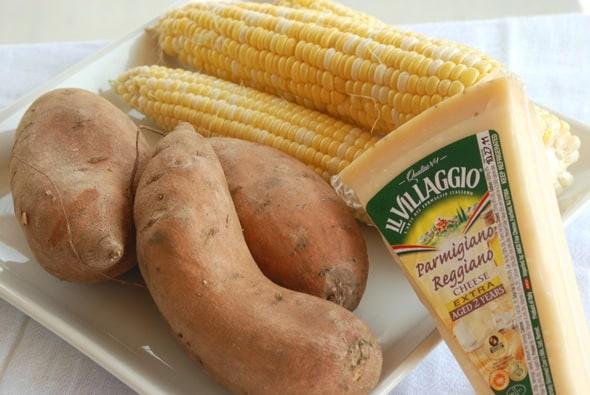 Parmigiano Reggiano Sweet Potato Corn Soup from Zestuous