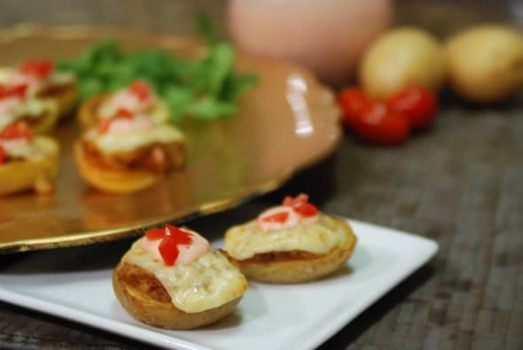 Chopotoes ~ Twice Baked Chorizo Potatoes with a Tomato-Sour Cream Aioli