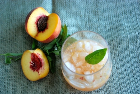 Peach Basil Cocktail from Zestuous