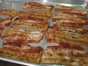 bacon on pan