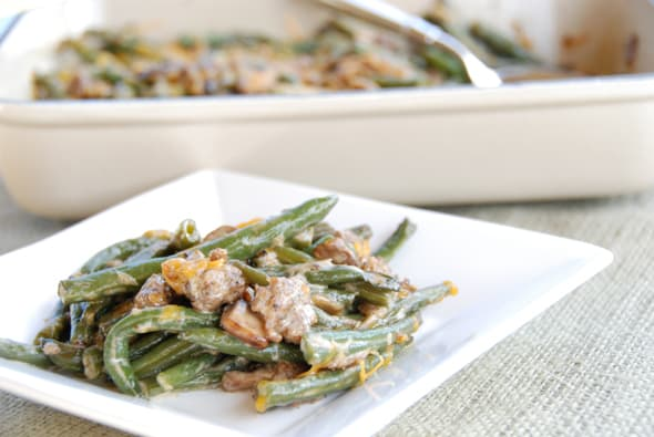 Green Bean Sausage Casserole from Zestuous