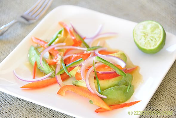 Avocado Salad with Cumin Vinaigrette from Zestuous