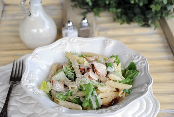 Chicken Caesar Pasta Salad from Zestuous