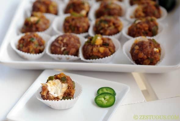 Cream Cheese Stuffed Chorizo Meatballs from Zestuous