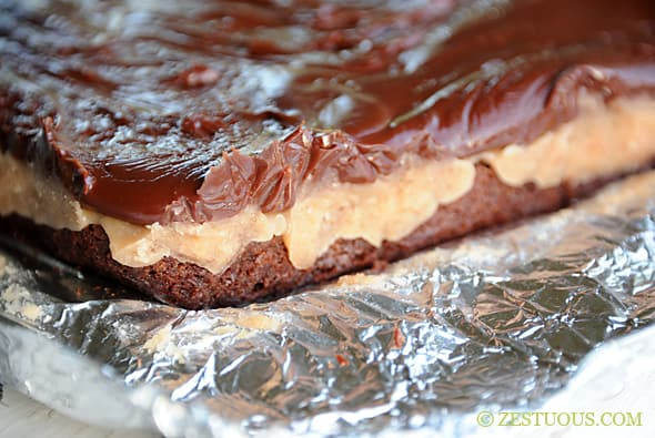 Caramel Fudge Brownies from Zestuous