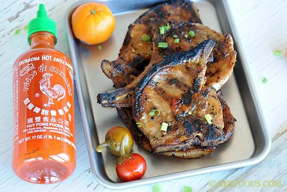 Grilled Orange Sriracha Pork Chops from Zestuous