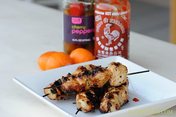 Grilled Orange Sriracha Chicken Skewers from Zestuous