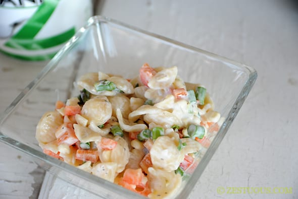 Raw Veggie Greek Yogurt Pasta Salad from Zestuous