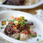 Garlic Chile Skirt Steak with Fresh Green Bean Salsa and Compound Butter