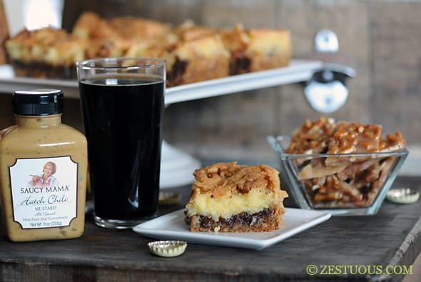 Chocolate Stout Pretzel Toffee Bars from Zestuous