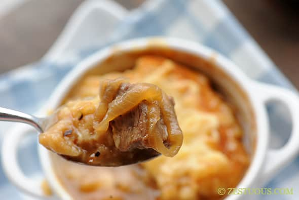 French Onion Steak Soup from Zestuous