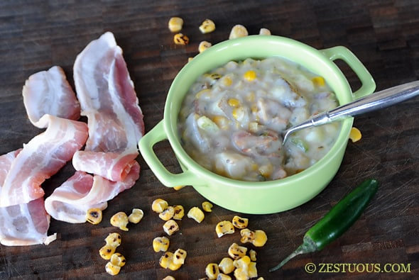 Bacon Corn Chowder from Zestuous