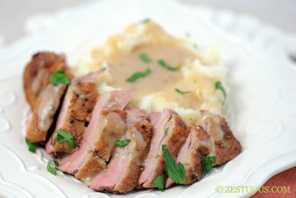 Seared Duck Breast with Duck Gravy from Zestuous
