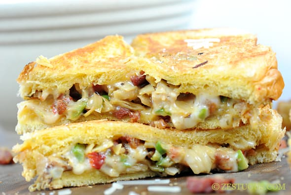 Artichoke and Pancetta Grilled Cheese from Zestuous