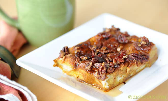Pumpkin Spice Latte Baked French Toast with Bacon Pecan Maple Syrup