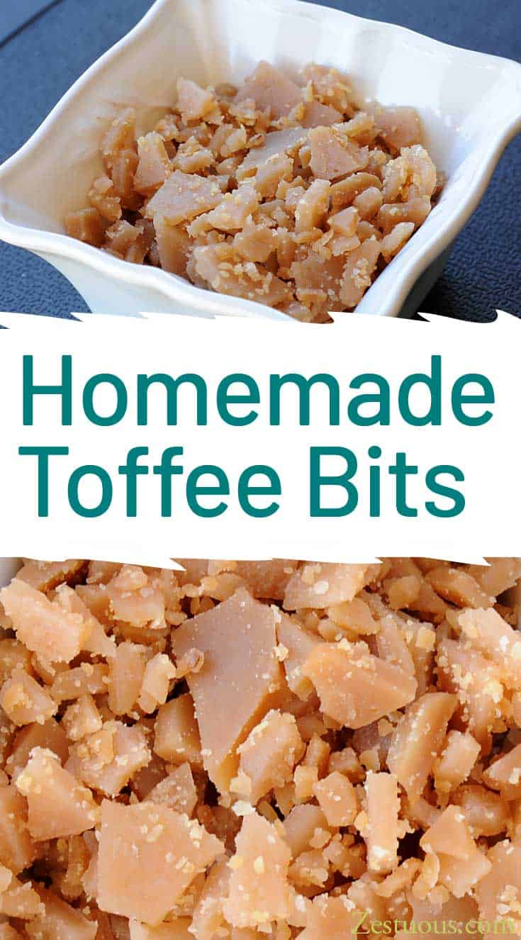 Homemade toffee bits are so easy to make, and they taste so much better than the store bought bag 'o bits. Use them in cookies, in muffins or on ice cream.