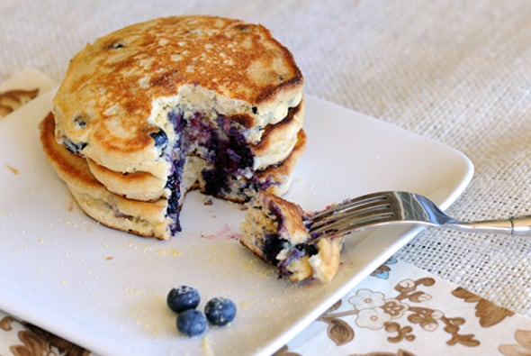 Blueberry Cornmeal Pancakes from Zestuous