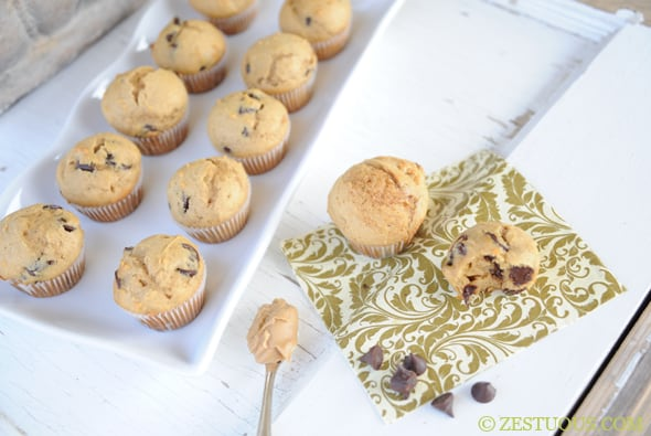 Chocolate Peanut Butter Muffins from Zestuous