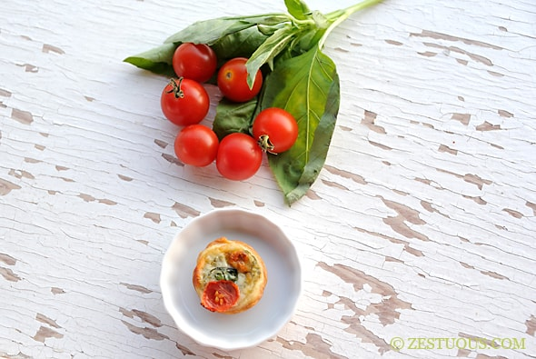 Tomato Basil Tartlets from Zestuous