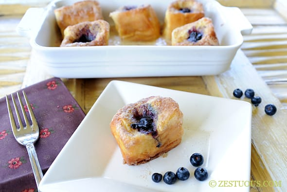 Blueberry Stuffed French Toast from Zestuous