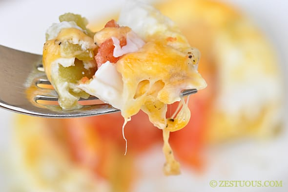Green Chile Egg Stack from Zestuous