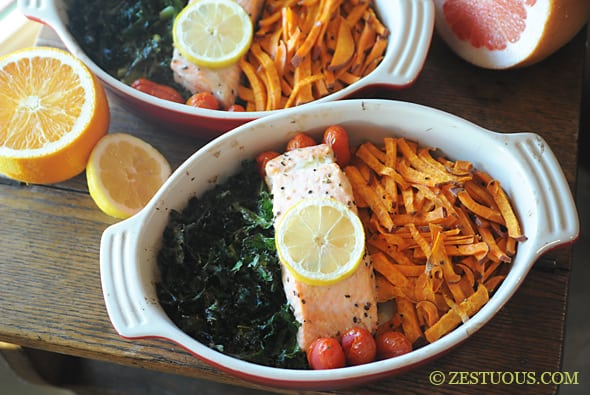 Baked Super Foods: Salmon, Kale & Sweet Potatoes