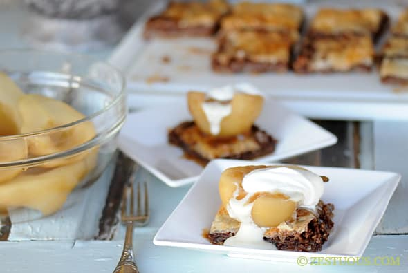 Riesling Poached Pears with Pecan Baklava