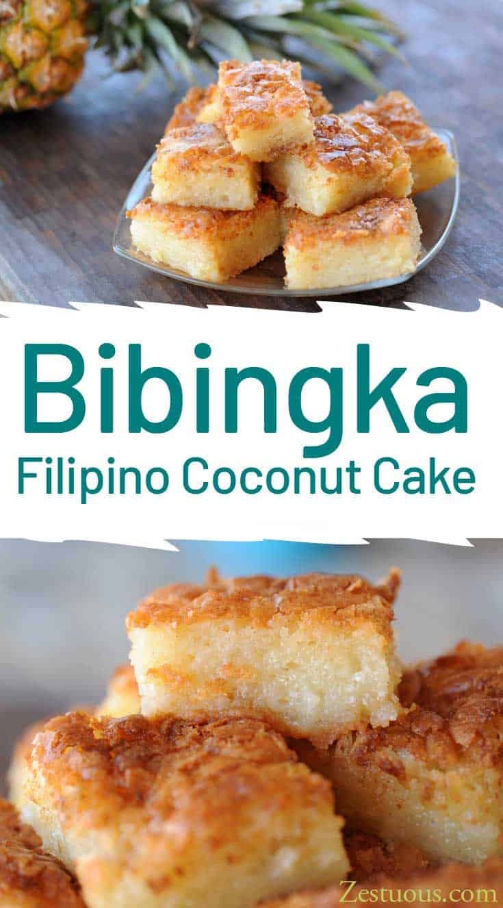 Bigingka is a thin, unfrosted Filipino cake made with sweet rice flour and cream of coconut.