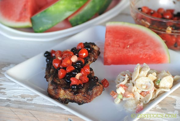 Grilled Red, White and Blue New York Strip Steak from Zestuous