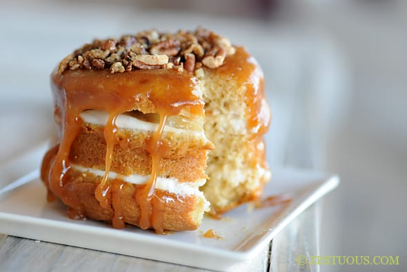 Caramelized Banana Butter Pecan Cake from Zestuous