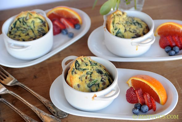 Spinach Mushroom Popovers from Zestuous