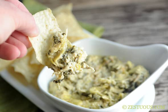 Triple Cheese Slow Cooker Spinach Artichoke Chicken Dip from Zestuous